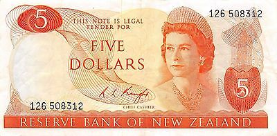New Zealand  $5  ND. 1975  P 165c  Series 126  Circulated Banknote