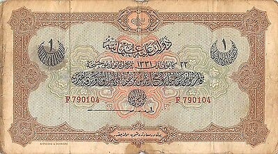 Turkey  1 Lira  22.12.1331 / 1912  P 83  Series F  Circulated Banknote