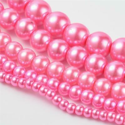 200 TOP QUALITY HOT PINK MIXED SIZE ROUND GLASS PEARL BEADS 4mm 6mm 8mm 10mm 12m