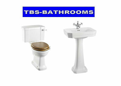 Burlington Victorian Basin, Toilet, Soft Close Seat, Claremont Mixer Tap & Waste