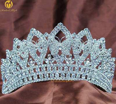 "Beauty Pageant Tiara Crown 3.5"" Clear Crystal Headband Veil Wedding Bridal Prom"