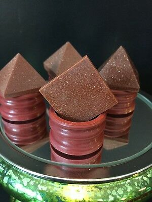 GOLDSTONE CARVED PYRAMID'S SET OF 4  1in By 1 In