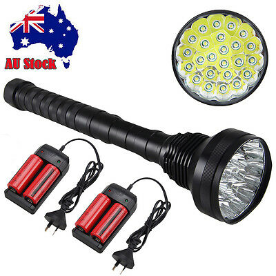 40000LM 24x XML T6 LED Rechargeable Flashlight  Torch Light 4x26650 AU Charger