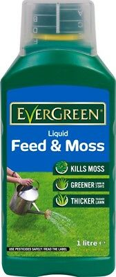 Evergreen Liquid Lawn Turf Feed & Moss Killer Treatment Greener Thicker Grass 1L