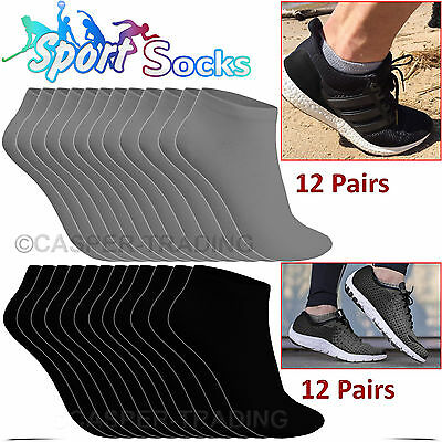 12 or 24 Pairs Mens Womens Trainer Cotton Rich Sports Work Socks Shoes Black LOT