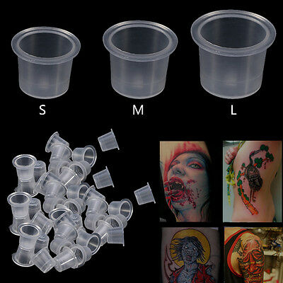 1000Pcs Plastic Clear Tattoo Ink Cup Caps Microblading Pigment Supply S/M/L MF