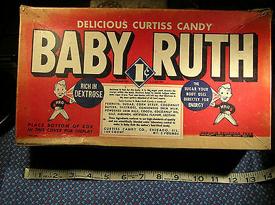 Early Curtiss Baby Ruth Candy Bar Store Display Box- 100 Count- 1 Cent- 1930's
