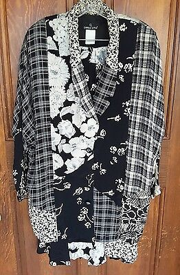 Vintage Carole Little~2 Piece Jacket & Skirt~Size12~Black & White~ART TO WEAR