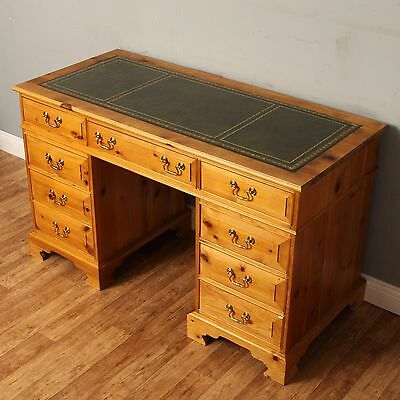 Twin Pedestal Writing Desk With Green Leather Top 8 Drawers Regency Style