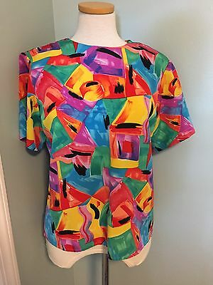 Vintage 80's 90's Fly Girl Silky Top M Art Shirt