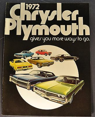 1972 Chrysler Plymouth Brochure Barracuda Satellite Duster Fury Scamp Imperial