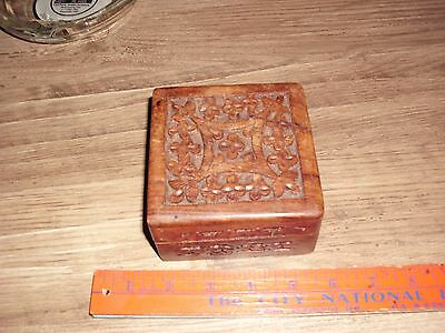 Antique Wooden Handmade Carved Flowers Jewelry Box Tobacco Trinket Tea Jewelry