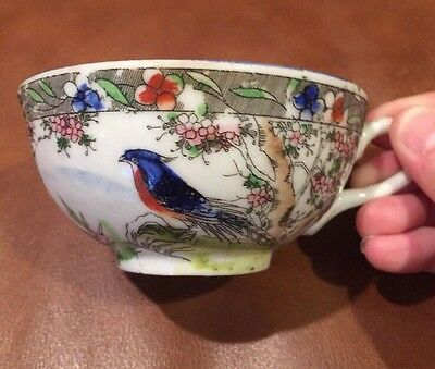 Gorgeous Antique Vtg Chinese Tea Cup and Saucer Cobalt Blue Bird