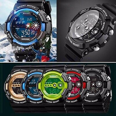 Mens Stainless Steel Digital Date Alarm Waterproof Sports Army Quartz Watch GA