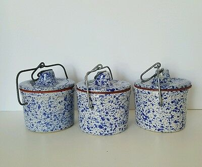 3 Vintage Blue White Pottery Speckled Splatter Cheese Butter Crock with Bale