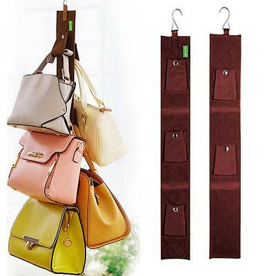 5 Hook Handbag Bag Purse Holder Shelf Hanger Rack Organizer Rear door Coffee GA