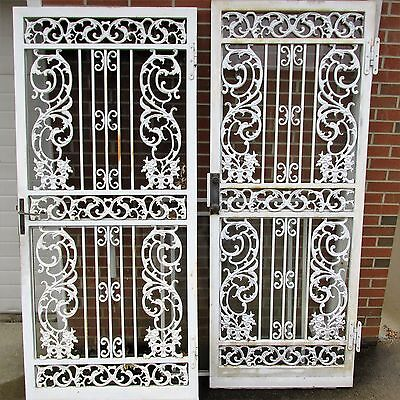 Vintage Wrought Iron Large Ornate Cast Storm Screen Door Architectural Salvage
