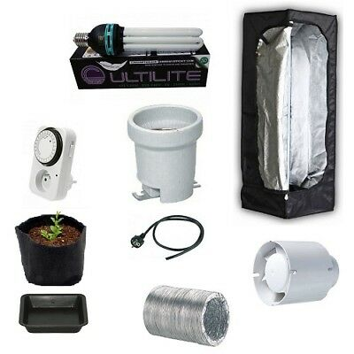 Kit Growbox 40 Lite CFL 125W Agro Growroom Completa Coltivazione Indoor Grow box