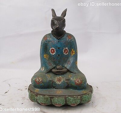 China Bronze Copper Cloisonne Enamel rabbit Buddhism Zodiac Buddha Statue