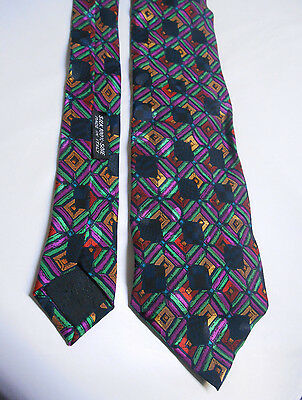 Brioni 100% Geometric Silk Men's Tie Made in Italy Purple Yellow Green Blue Red