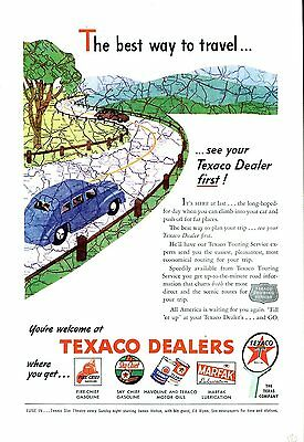 Texaco Ad 1940s Touring Service Road Map Travel Tourism Gas Gasoline Petroliana