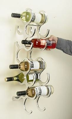 Contemporary Polished Aluminium 10 Bottle Wall Mounted Wine Rack