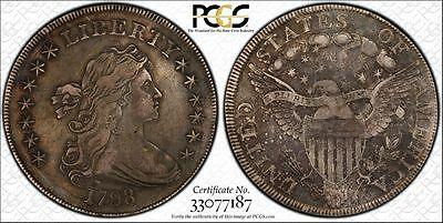1798 $1 Draped Bust Heraldic/Large Eagle Silver Dollar - PCGS VF Details Tooled