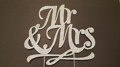 Mr and Mrs Cake Toppers - Glittery Silver Wedding Cake Topper, Accessory