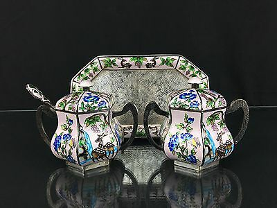 Amazing Antique Chinese Possibly Korean Pure Export Silver Enamel Sugar Set