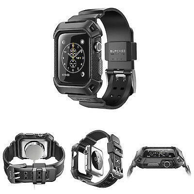 42mm Apple Watch Series 2 Case Rugged Protective With Strap Bands Black