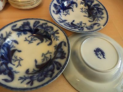 3 Old Antique Flow Blue White Large Bowls Dishes Lily Pattern Fm & Co China