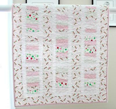 WONKY STRIPS / DRAGONFLIES ~ New Handmade Baby Girl Quilt