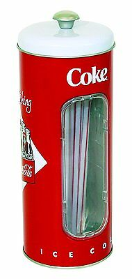 Straw Dispenser Coke Coca Cola Tin Drinking Collectible Holder 50 New Can Red