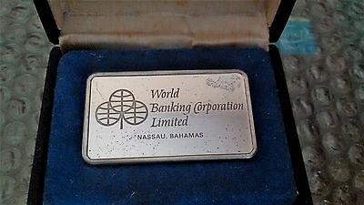 Rare Franklin Mint World Banking Nassau Bahamas 1000 Grains Sterling Silver Bar