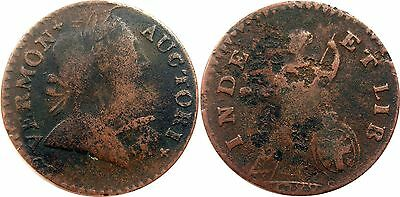 """1788 Vermont Colonial Copper Cent Coin - Ryder 24 """"Horned Bust"""""""