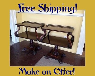 SALE! Pair Antique VICTORIAN END TABLE Side Carved Mahogany 2 Tiered Claw Feet