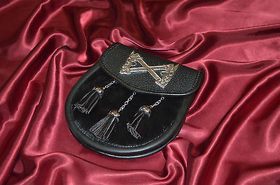 Black Rabbit Fur With Rampant Lion Badges New Sporrans