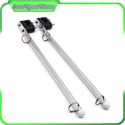 2PCS S S Rail Mounted Flag Staff Pole With Plastic Rail Clamp Boat Marine Great
