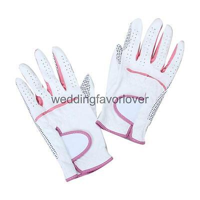 1 Pair Golf Gloves Women Anti-slip Leather Golf Gloves Soft Gloves