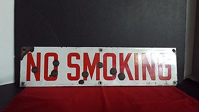 Vintage Rusty No Smoking Metal Sign in Red and White 20x5