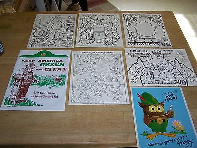 1970's Forest Service 5 Coloring Sheets, Woodsy Poster & Car Litter Bag Smokey
