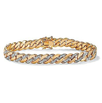 PalmBeach Jewelry Men's Diamond Accent Curb-Link Bracelet 18k Gold-Plated 8.5""