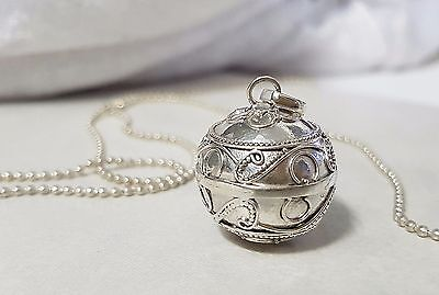 925 STERLING SILVER Waves Harmony Chime Ball Angel Caller Pendant 18mm w/Chain