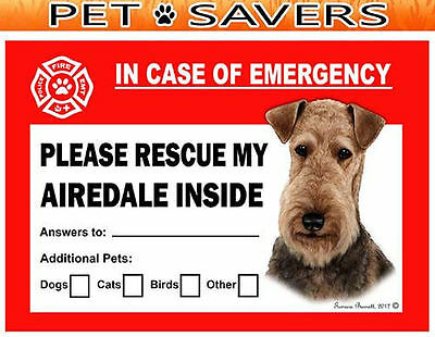 Airedale Terrier Dog Pet Savers Emergency Rescue Window Cling Sticker