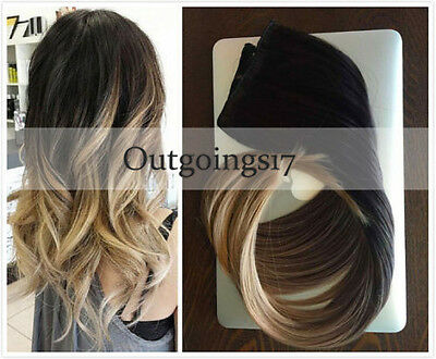7A Balayage Brown to Blonde Remy Ombre Clip In Human Hair Extensions Full Head