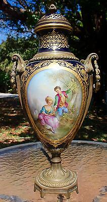 """Spectacular Mid 19Th Century Sevres Urn - Finest Quality - 20""""h - Restored Lid"""