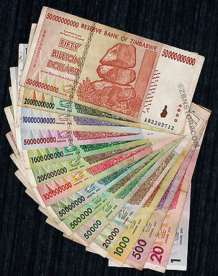 1 to 50 Billion Zimbabwe Dollars Set of 15 Different Bank Notes Pre 100 Trillion