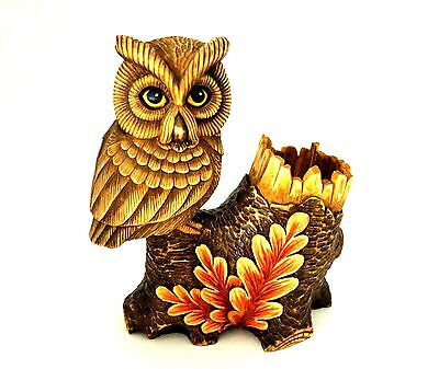 "Wood Carved Pen Holder ""Owl"" 8.5 "" Tall"