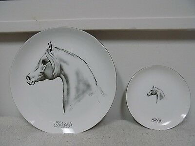 Lot of 2 Vintage ARABIAN HORSE Hazel D. Ammerman Collectable Fine China Plates
