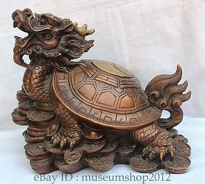 "11"" Chinese Bronze Fengshui Money Wealth Rich Dragon Turtle Statues Sculptures Q"